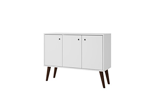 Manhattan Comfort Bromma Collection Mid Century Modern Square Buffet Stand Table With Two Cabinets and Splayed Legs, White Dining Room Square Cabinet