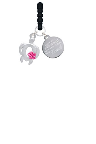Open Sea Turtle with Hot Pink Plumeria Real Heroes Teach Phone Charm