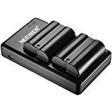 Neewer 2 Piezas 2100mAh Baterias Reemplazo Li-ion para Nikon EN-El15 y Cargador Micro USB Doble para Nikon D800 D800E D610...