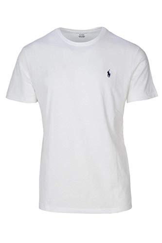 Polo Ralph Lauren Mens Crew-Neck T-Shirt (Large, White (Navy Pony))
