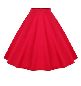 Killreal Women's High Waisted Flared Vintage Skirt for Christmas Party Red X-Large by Killreal (Image #2)