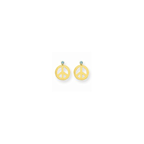 Gem 14kt Gold Aqua Yellow (ICE CARATS 14kt Yellow Gold Peace Sign Aqua Cubic Zirconia Cz Post Stud Earrings Drop Dangle Inspiration Fine Jewelry Ideal Gifts For Women Gift Set From Heart)