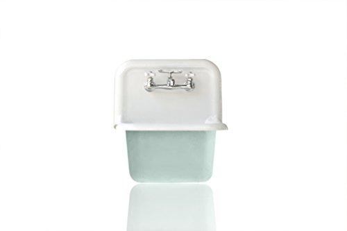 Deep Utility Sink Antique Inspired High Back Cast Iron Porcelain Farm Sink Package Green (Optional Bathroom Sink)