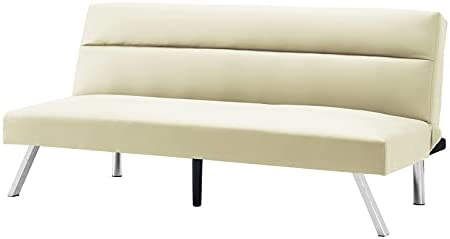 Convertible Lounge Futon Sofa Bed, Twin Size Sleeper, Armless Couch Daybed for Dorm, Living Room, Small Spaces, with Adjustable Back, Sturdy Metal Legs, PU, Beige