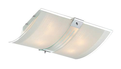 Lite Source LS-5431 Flush Mount with Frosted Glass Shades, Chrome Finish ()