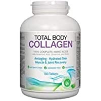 Total Body Collagen - Antiaging, Hydrated Skin, Muscle & Joint Recovery. 100% Complete Amino Acids with Hyaluronic Acid, Glutamine, and Biotin. 180 tablets