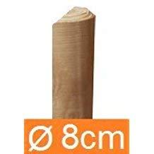 CF. da 1PZ Mezzi Pali in legno per recinzione trattati impregnati per staccionata/steccato Mezzo Palo Tondo Ø CM 8 altezza CM 300 H Cartomatica nextradeitalia