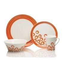 Mikasa Circle Chic 4-Piece Dinnerware Set, Orange