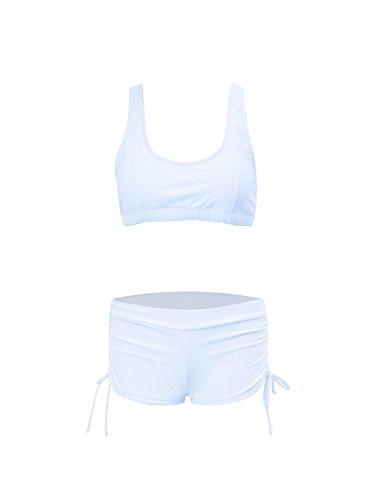 Urban Virgin Retro Vintage High Waist Women's Bikini Set Strappy Push Up Bathing Suit White XL:US8-10