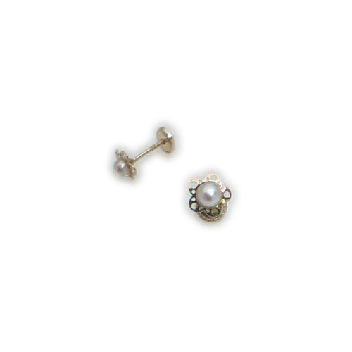 Pendiente oro bibe dormilon flor y perla: Amazon.es: Joyería