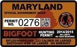 "Maryland Bigfoot Hunting Permit 2.4"" x 4"" Decal Sticker"