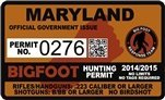 "Maryland Bigfoot Hunting Permit 2.4"" x 4"" Decal Sticker"
