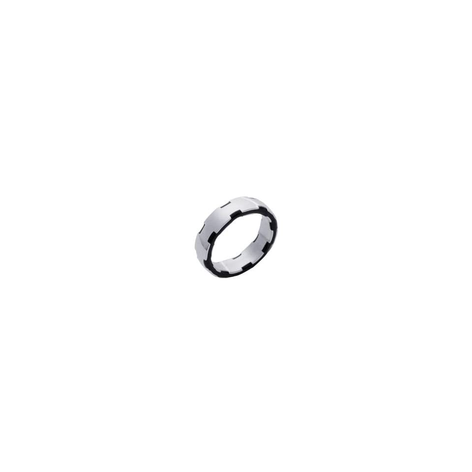 Mens Stainless Steel & Black Ruthenium 6 mm Modern Band Ring Jewelry