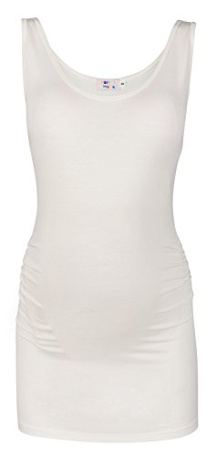 Happy Mama. Para Mujer Camiseta Top premamá. Cuello Redondo. Sin Mangas. 792p Off White