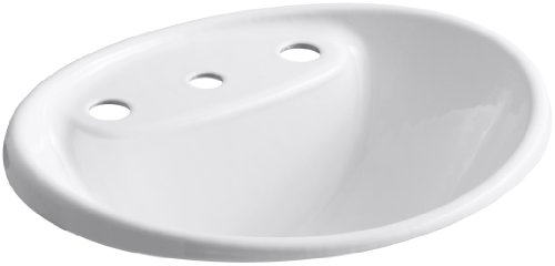 - Kohler K-2839-8-0 Cast Iron Drop-In Oval Bathroom Sink, 21.875 x 19.25 x 11.625 inches, White