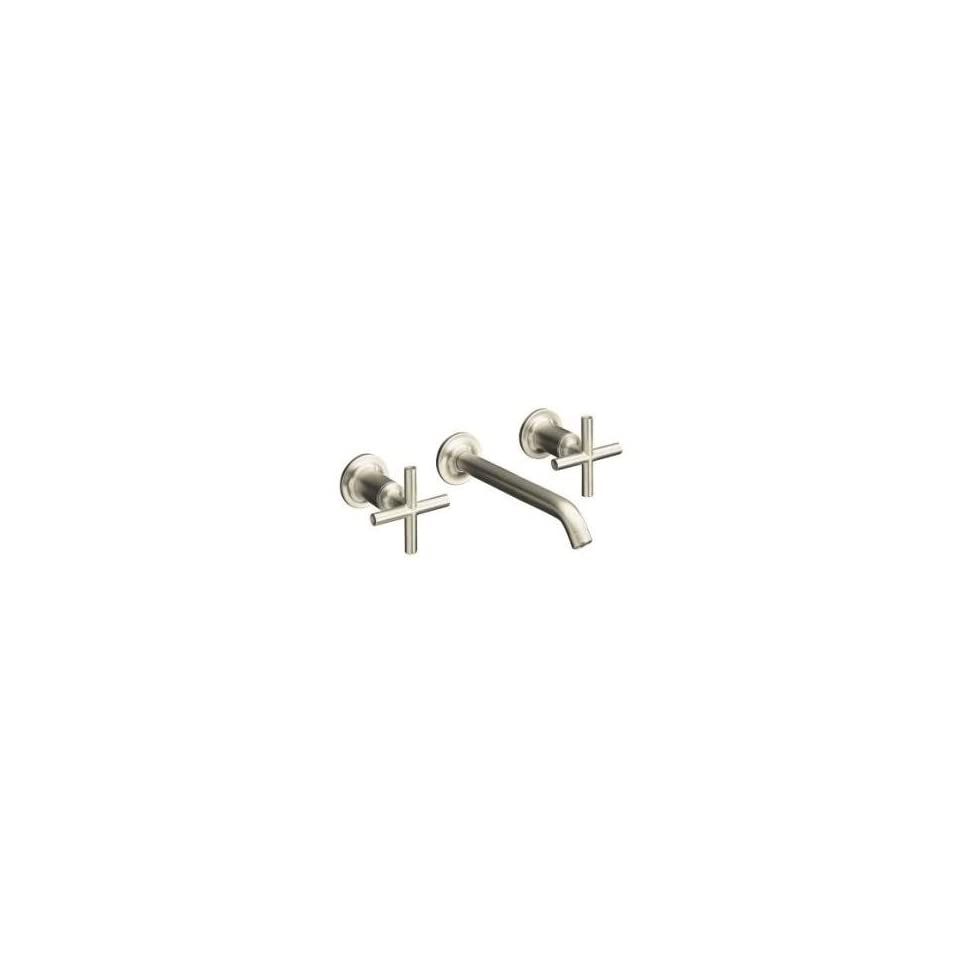 Kohler Purist Brushed Nickel Wall Mount Bathroom Sink Faucet, 8 1/4 Spout+Cylinder Cross Handles