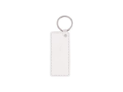 (Leather Rectangle Keychain Sublimation Blank White Heat Transfer 10 PCS. 8 X 4cm 3'' X 1,75'')