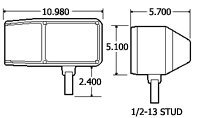 Truck-Lite Universal Snow Plow/ATL Lamp, RH 80820