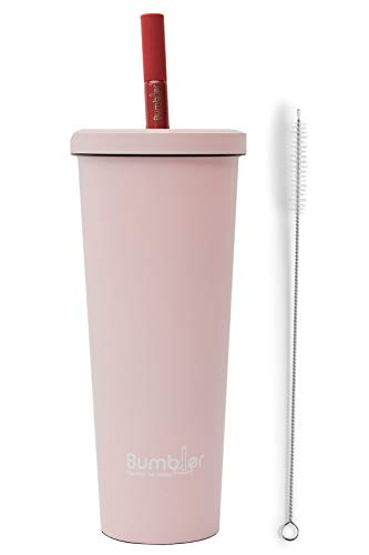 Stainless Steel Bumbler - 24 oz Reusable Eco-Travel Double Walled Vacuum Sealed Tumbler with Wide Duo Material Metal Straw - Keep Cool or Warm Drink- Coffee, Boba/Bubble Tea, Water, Smoothies- Blush