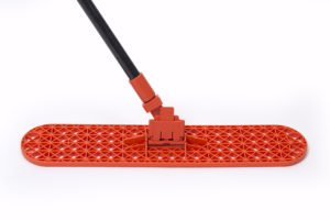 1 24'' Dust Mop Frame with 1 Black Fiberglass Handle and Clip-On Connector 100% Made in USA