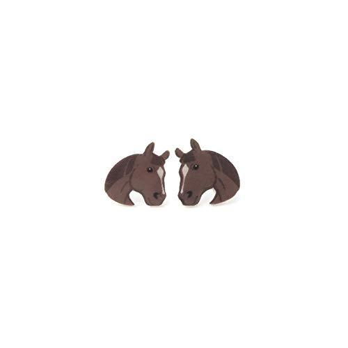 Small Horse Stud Earrings, Metal Free Plastic Post ()
