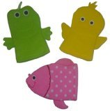 (Terrycloth Baby Bath Animal Hand Puppet Wash Mitt - Set of 3 - Duck, Frog,)
