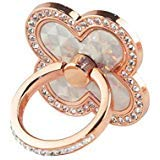 GreatQIQI Phone Ring Stand Holder, Four Leaf Clover Bling Diamond 360 Degree Rotation Smartphone Finger Ring Kickstand Grip Holder Compatible with iPhone Xs Max XR 8 7 6S Plus iPad ()