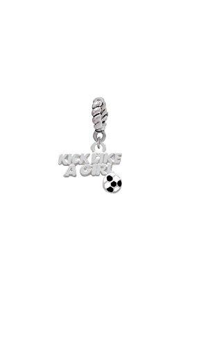 Silvertone Kick Like a Girl with Enamel Soccer Ball - Rope Charm Bead - Kicker Starter