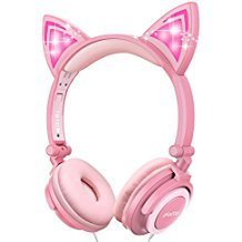 Cat Ear Headphones, Ifecco Kid Headphones Foldable Wired Headphones On-Ear Headsets Support 3.5 mm Audio Jack Headset with Glowing Light for Girls Children Gift, Pink by ifecco