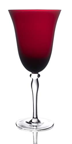 Ruby Matte Decorative Glass - Novelty Rouge Red Hand Blown Goblet Wine Glasses, 12-Ounce (Set of 4)