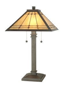 Dale Tiffany TT70734 Jeweled Mission Table Lamp, 15.75″ x 15.75″ x 26.25″, Bronze