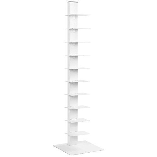 - MoonNewyork Spine Book Tower 11 Shelf Bookcase Media Storage Floating Open CD Rack -59