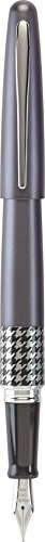 - Pilot MR Retro Pop Collection Ball Point Pen; Gray Barrel with Hounds tooth Accent, Medium, Black Ink (91425), Stainless Steel Nib, Refillable