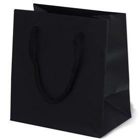 "5.5"" x 3.5"" x 6"" (Pack 100) Black Matte Eurotote Paper Shopping Bags"