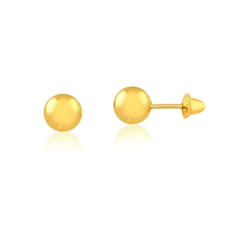 18k Golden Earrings - Carol Jewelry 18k Solid Gold Ball Push Backs Stud Earrings for Newborn, Babies, and Little Girls (2.5 mm)