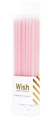 24 Count Extra Long Thin Candles with 24 Holders for Parties, Birthday, Cakes, Cupcakes - Pastel Pink -