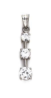 Blanc 14 carats avec pendentif en zircone cubique en forme de goutte-JewelryWeb