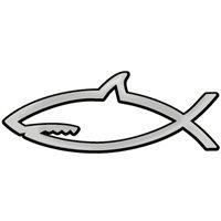 Shark with Closed Mouth Chrome Auto Emblem 5 x 2