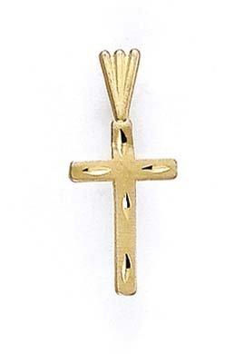 Taille 14 carats Diamant-Pendentif croix JewelryWeb