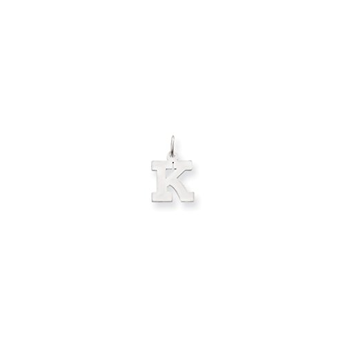 ICE CARATS 14kt White Gold Small Block Initial Monogram Name Letter K Pendant Charm Necklace Fine Jewelry Ideal Gifts For Women Gift Set From Heart 14kt Gold Charm Block