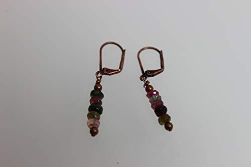 (Tourmaline Antique Copper Leverback Earrings,Boho Earrings, Bohemian Jewelry,Handmade Jewelry)