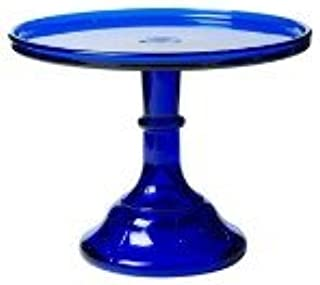 """product image for 9"""" Cobalt Blue Glass Bakers Cake Stand Plate Hand Made in Ohio"""