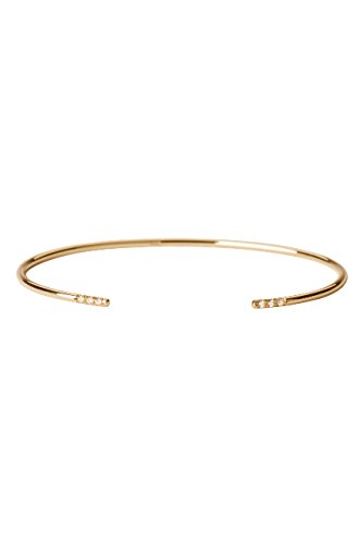 Diamond cuff bracelet, 14k solid gold, open diamond claw cuff by Zoe Lev Jewelry