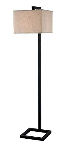 (Kenroy Home Modern Floor Lamp, 64 Inch Height, Oil Rubbed Bronze Finish, Contemporary Tan Square Fabric Shade)