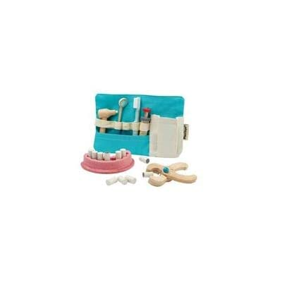 PlanToys Wooden Dentist Role Play Set (3493) | Sustainably Made from Rubberwood and Non-Toxic Paints and Dyes: Toys & Games