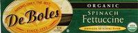 DeBoles Organic Spinach Fettuccine -- 8 - Organic Pasta Deboles