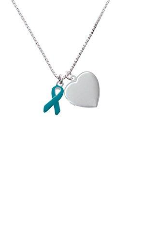 Teal Ribbon Heart Locket Necklace, 18