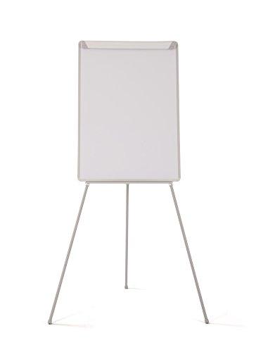 Bi-Office Pizarra Magnetica con Caballete de Tripode Basic, 70 x 100 cm, Rotafolios con Marco Gris, con Bandeja y Clip Ajustable para Bloques