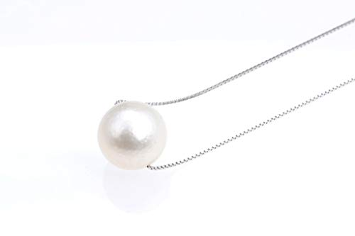 (Win Pearl Huge 11-12 mm White South Sea Cultured Pearl Solitaire Necklace silver alloy chain - nk277)