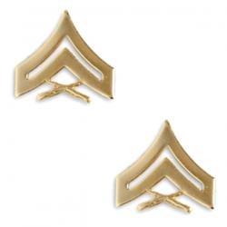 Marine Corps Corporal 22K Gold Finish Collar Device Rank Insignia Pair